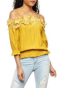 Off the Shoulder Flower Crochet Trim Top - 3402062705377