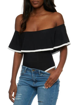 Off the Shoulder Ruffled Bodysuit with Contrast Trim - 3402062706485
