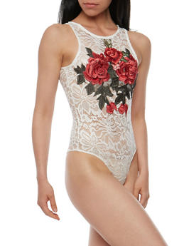 Rose Embroidered Lace Bodysuit - 3402062706498
