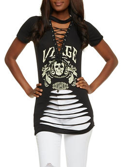 Slashed Lace Up Graphic Top - BLACK - 3402062706514