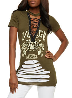 Slashed Lace Up Graphic Top - OLIVE - 3402062706514