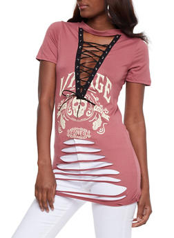 Slashed Lace Up Graphic Top - MAUVE - 3402062706514