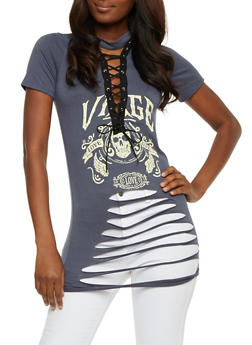 Slashed Lace Up Graphic Top - DENIM - 3402062706514