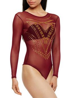 Long Sleeve Studded Mesh Bodysuit - 3402062709919
