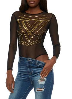 Long Sleeve Mesh Studded Bodysuit - 3402062709929