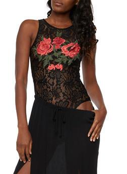 Rose Applique Lace Bodysuit - 3402062709950