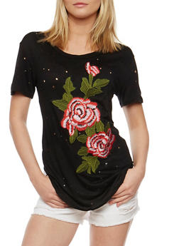 Short Sleeve Embroidered Lasercut Top - 3402063406621