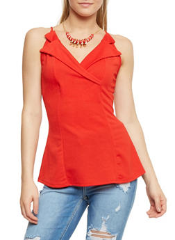 Sleeveless Collar Top with Necklace - 3402065620462