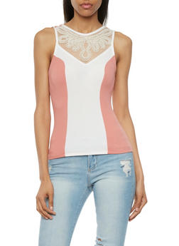 Colorblock Top with Faux Pearl Detail - 3402065621492