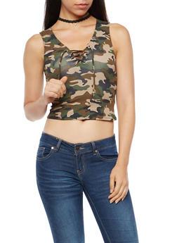 Camo Lace Up Crop Tank Top - 3402066491645