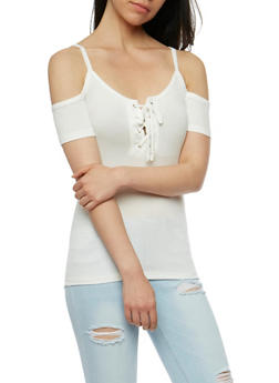 Cold Shoulder Rib Knit Lace Up Top - WHITE - 3402066491883