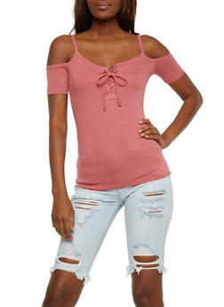 Cold Shoulder Rib Knit Lace Up Top - 3402066491883