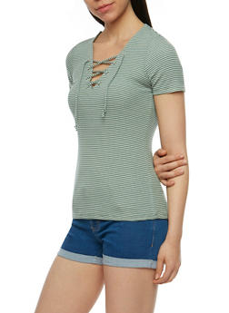 Short Sleeve Striped Lace Up Top - SAGE/WHITE - 3402066491933