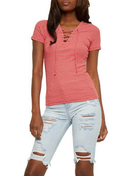 Short Sleeve Striped Lace Up Top - RED/WHITE - 3402066491933