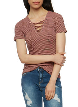 Short Sleeve Striped Lace Up Top - ROSE/BLACK - 3402066491933
