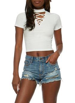 Lace Up Rib Knit Choker Crop Top - 3402066491984