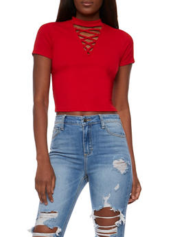 Lace Up Rib Knit Choker Crop Top - RED - 3402066491984
