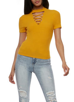 Lace Up Rib Knit Choker Crop Top - MUSTARD - 3402066491984