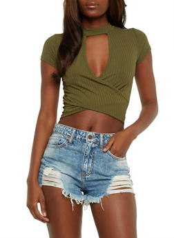 Wrap Front Choker Crop Top - OLIVE - 3402066491986