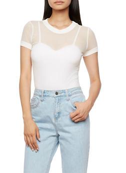 Mesh Short Sleeve T Shirt - WHITE - 3402066493053