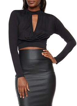 Long Sleeve Keyhole Wrap Front Crop Top - 3402066493077