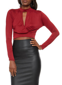 Long Sleeve Keyhole Wrap Front Crop Top - BURGUNDY - 3402066493077
