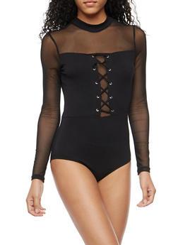 Lace Up Bodysuit with Mesh Trim - BLACK - 3402066493197
