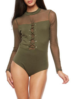 Lace Up Bodysuit with Mesh Trim - 3402066493197