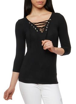 Solid Lace Up 3/4 Sleeve Top - 3402066496858