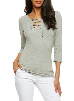 Solid Lace Up 3/4 Sleeve Top - HEATHER - 3402066496858