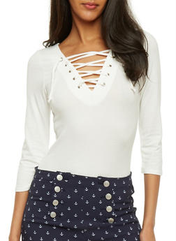 Solid Lace Up 3/4 Sleeve Top - WHITE - 3402066496858