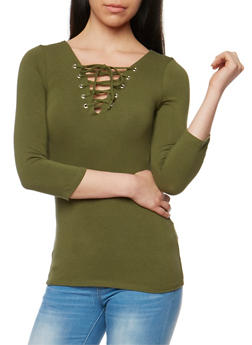 Solid Lace Up 3/4 Sleeve Top - OLIVE - 3402066496858