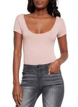 Short Sleeve Scoop Neck Bodysuit - 3402066497888