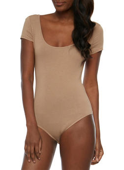 Short Sleeve Scoop Neck Bodysuit - 3402066497888
