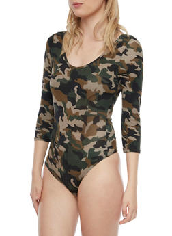 Printed Bodysuit with Scoop Neck - 3402066497899