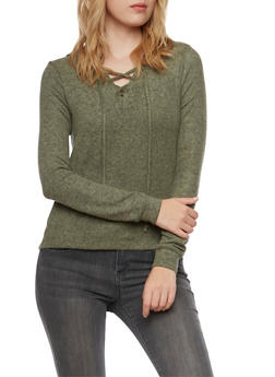Hooded Sweater with Lace Up V Neck - 3402066498195