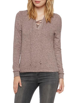 Hooded Sweater with Lace Up V Neck - MAUVE - 3402066498195