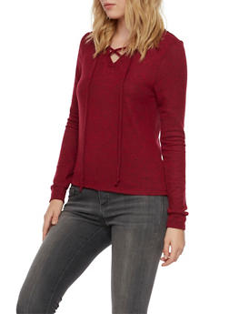 Hooded Sweater with Lace Up V Neck - BURGUNDY - 3402066498195