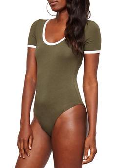Contrast Trim Bodysuit - 3402066499317