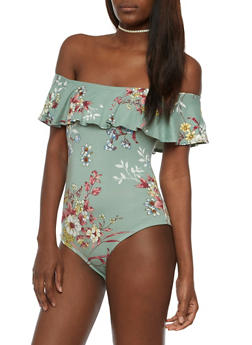 Floral Off the Shoulder Bodysuit - 3402069390185