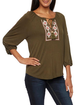 Embroidered Peasant Top with Three Quarter Sleeves - OLIVE - 3402069390694