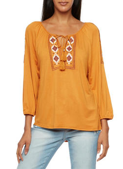 Embroidered Peasant Top with Three Quarter Sleeves - MUSTARD - 3402069390694