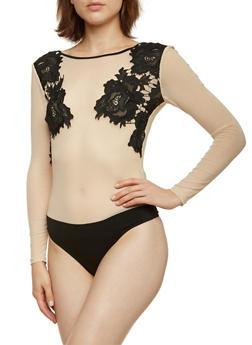 Mesh Bodysuit with Crochet Appliques - 3402069390707