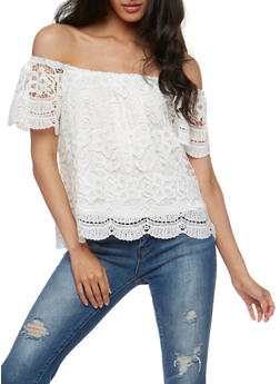 Short Sleeve Off the Shoulder Crochet Top - WHITE - 3402069390757