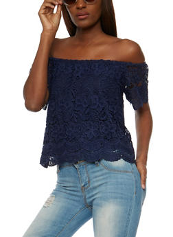 Short Sleeve Off the Shoulder Crochet Top - 3402069390757