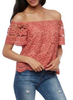 Short Sleeve Off the Shoulder Crochet Top - MAUVE - 3402069390757