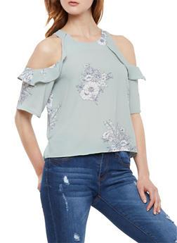 Cold Shoulder Floral Crepe Blouse - 3402069391038