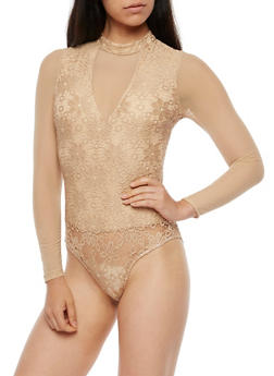 Long Sleeve Crochet Bodysuit - 3402069391075