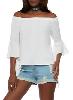 Off the Shoulder Top with Ruffled Bell Sleeves - WHITE - 3402069391281