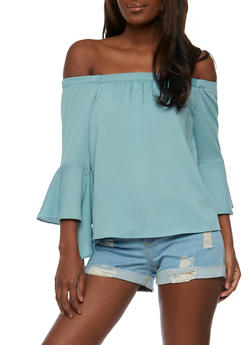 Off the Shoulder Top with Ruffled Bell Sleeves - 3402069391281
